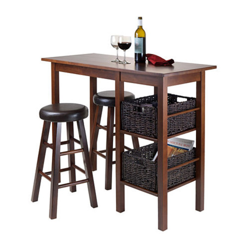 Winsome Egan 5pc Table with 2 - 24 Round Cushion Stools and 2 Baskets