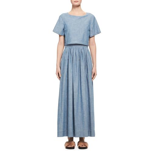 CHLOE Trompe L'Oeil Chambray Short-Sleeve Maxi Dress, Light Blue