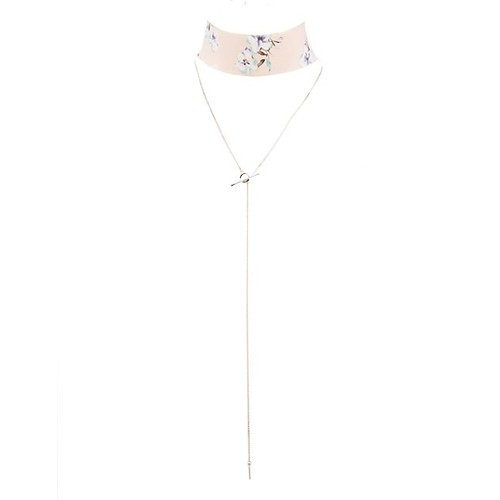 Floral Choker & Lariat Necklace - 2 Pack
