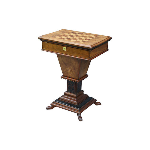 19th-C. Burr Walnut Game Table
