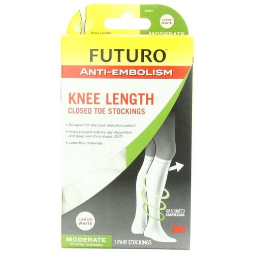 Futuro Stockings, Closed Toe, Anti-Embolism, Knee Length, White, Large 1 pair