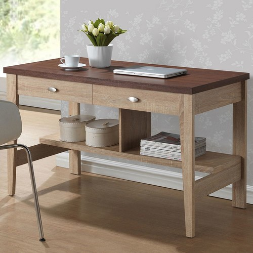 Baxton Studio Fillmore Natural and Dark Brown Desk