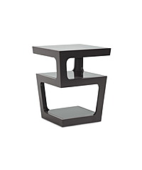 Baxton Studios Clara Black Modern End Table with 3-Tiered Glass Shelves