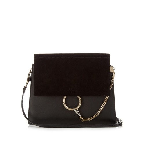 Faye medium leather and suede shoulder bag