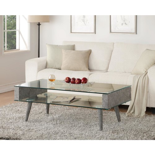 Acme Furniture Boyd Clear Glass and Gray Coffee Table