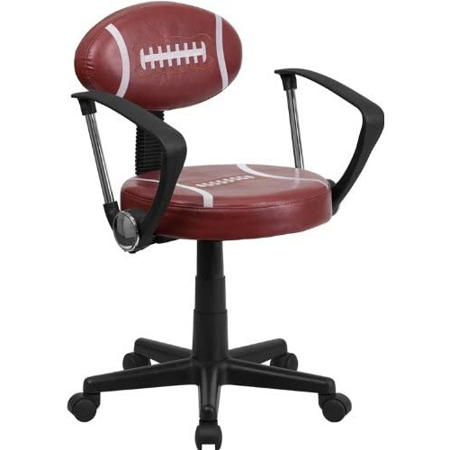 Flash Furniture Football Swivel Task Chair with Arms [Brown]
