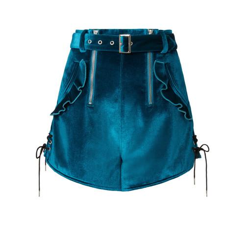 SELF-PORTRAIT Double Zip Belted Velvet Shorts