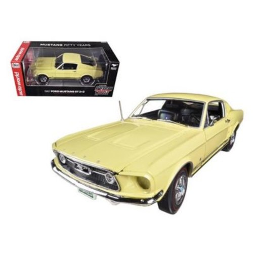 Autoworld 1967 Ford Mustang 2 Plus 2 Gt Aspen Gold Limited To 1250 Piece 50Th Anniversary 1-18 Diecast Car Model (Dtdp1739)