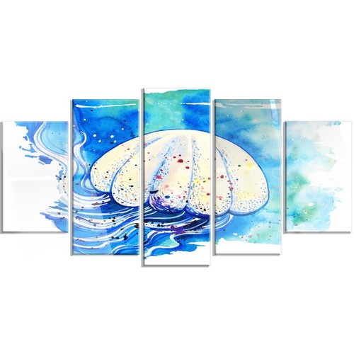 Designart 'Jellyfish Watercolor Painting' Animal Metal Wall Art