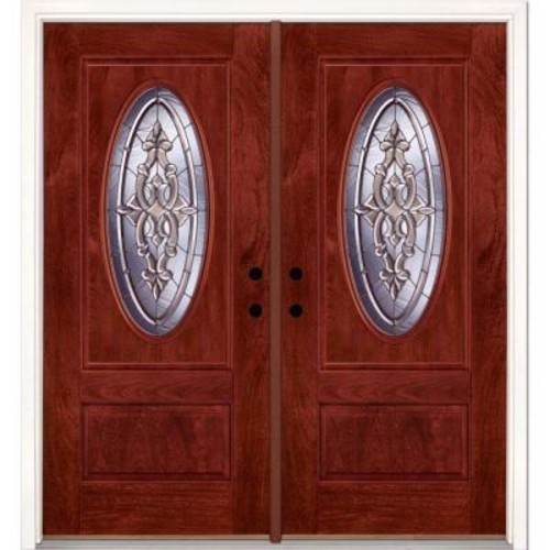 Feather River Doors 74 in. x 81.625 in. Silverdale Zinc 3/4 Oval Lite Stained Cherry Mahogany Left-Hand Fiberglass Double Prehung Front Door