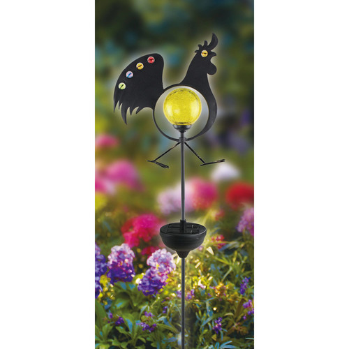 Moonrays Solar Powered White LED Jeweled Rooster Stake Light