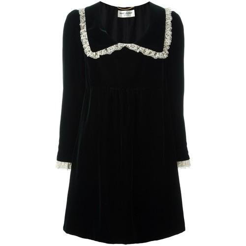 SAINT LAURENT Ruffled Collar Babydoll Mini Dress