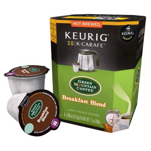 Keurig K-Carafe Pod Green Mountain Coffee Breakfast Blend Light Roast Coffee - 8-pk.