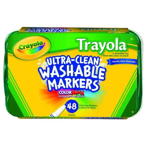 Crayola Classic Trayola Non-Toxic Washable Marker Set, Fine Tip, Assorted Classic Trayola Colors, Set of 48