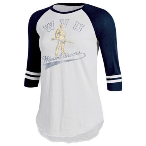 West Virginia Mountaineers Women's Retro Tailgate White/3/4 Sleeve T-Shirt