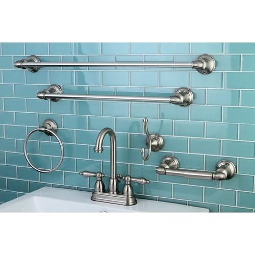 High Arc Satin Nickel Bathroom Faucet & Accessory Set