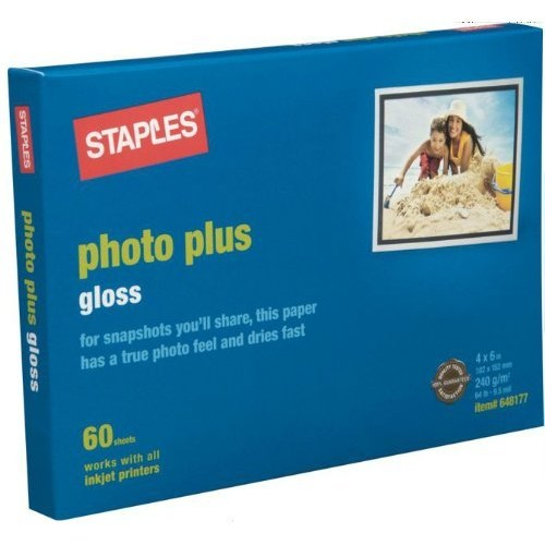 Staples Photo Plus Gloss Paper, 4