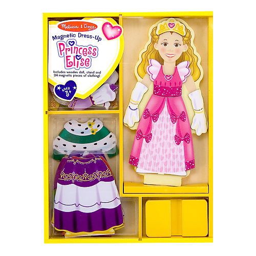 Melissa & Doug Deluxe Princess Elise Magnetic Wooden Dress-Up Doll Play Set (24 pieces)
