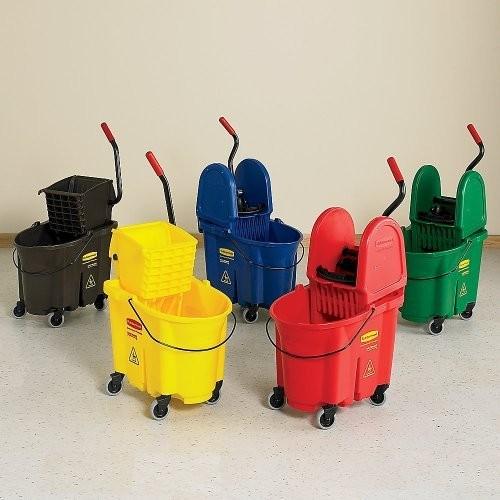 Rubbermaid Commercial 758088YW Wavebrake 35 Quart Bucket/Wringer Combinations, Yellow [Yellow, 1, 35 Quart]
