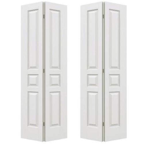 JELD-WEN 72 in. x 80 in. Avalon Primed Textured Hollow Core Molded Composite MDF Closet Bi-fold Door
