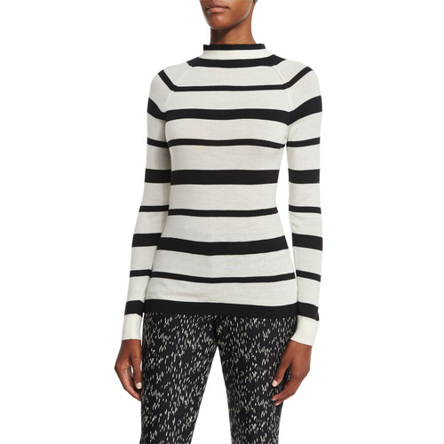 LELA ROSE Striped Funnel-Neck Sweater, Black/Ivory