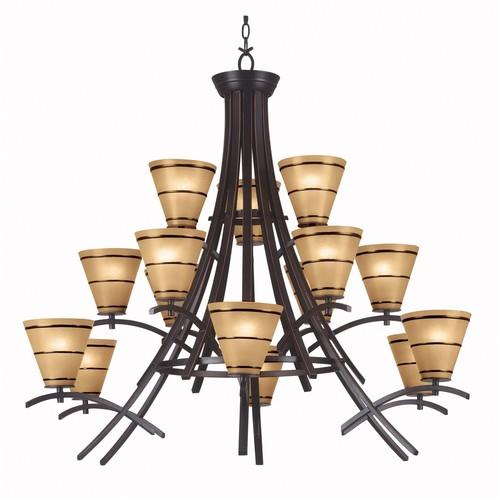 Kenroy Home 90088ORB - Wright 15 Light Chandelier Oil Rubbed Bronze Finish