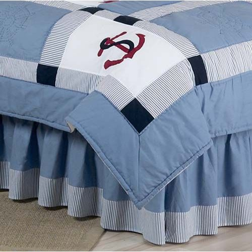 Sweet Jojo Designs Come Sail Away Collection Queen Bed Skirt