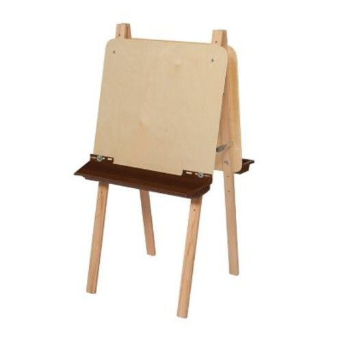 Wood Designs Art Double Adjustable Easel With Plywood and Brown Tray, Birch