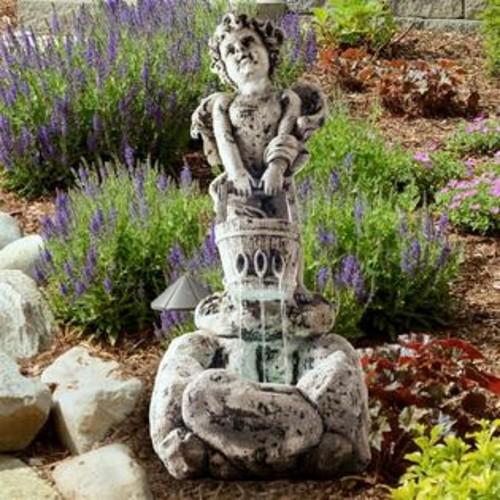 Pure Garden LED Lighted Outdoor Cherub Fountain