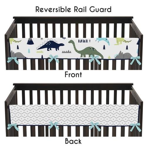 Sweet Jojo Designs Blue and Green Mod Dinosaur Collection Microfiber Long Crib Rail-guard Cover