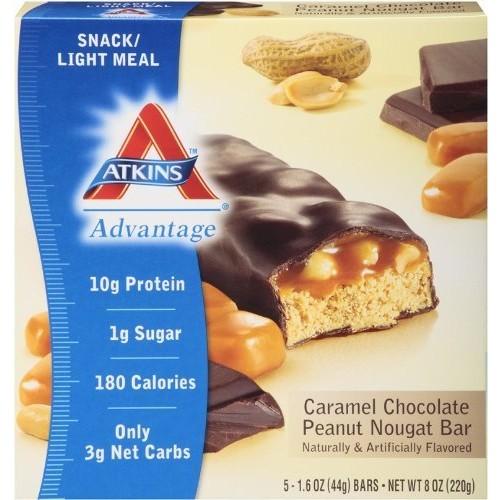 Atkins Snack Bar, Caramel Chocolate Peanut Nougat, 5 Bars [Chocolate Peanut Nougat]
