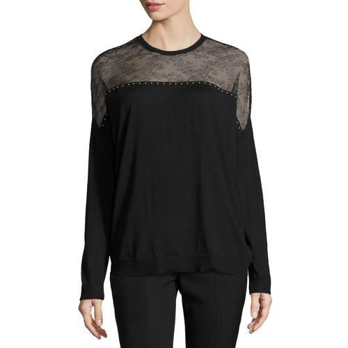 VALENTINO Lace-Yoke Long-Sleeve Sweater, Black