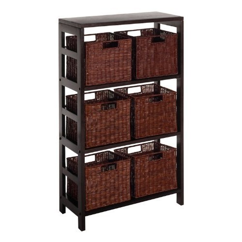 Winsome Wood Leo Wood 4 Tier Shelf with 6 Rattan Baskets in Espresso Finish [Espresso, antique walnut basket]