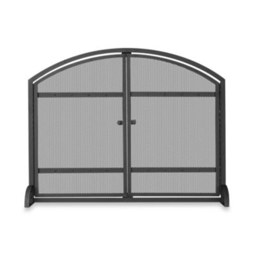 UniFlame Single-Panel Iron Fireplace Screen in Black