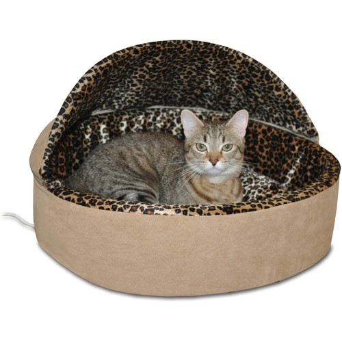 K&H Manufacturing Thermo-Kitty Bed Deluxe Hooded Cat Bed 4 Watts [Tan Leopard, Small]
