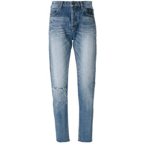 SAINT LAURENT Distressed Tapered Fit Jeans