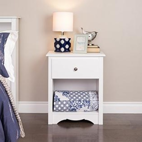 Prepac Monterey 1 Drawer Tall Nightstand in White