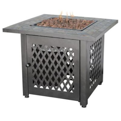 Endless Summer 30 in. Steel LP Fire Pit with Slate Mantel