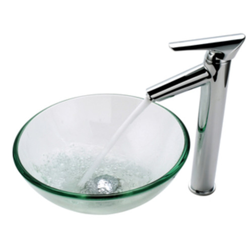 KRAUS 19 mm Thick Glass Vessel Sink with Single Hole Single-Handle Sheven Faucet in Satin Nickel [option : Chrome]