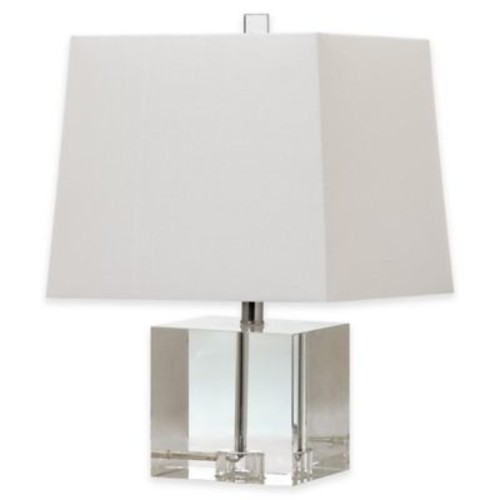 Safavieh McKinley 1-Light Crystal Block Table Lamp with Cotton Shade