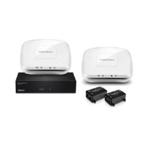 TRENDnet AC1200 Dual Band Wireless Controller Kit - 5x Gigabit Ports, 1x USB, 1x PoE Gigabit LAN, up to 8 SSIDs Per Wireless Band, 2.4GHz: 2x 4 dBi, 5GHz: 2x 4 dBi, LED Indicators- TEW-821DAP2KAC