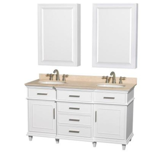 Wyndham Collection Berkeley 60 in. Double Vanity in White with Marble Vanity Top in Ivory, Undermount Round Sinks and Medicine Cabinets