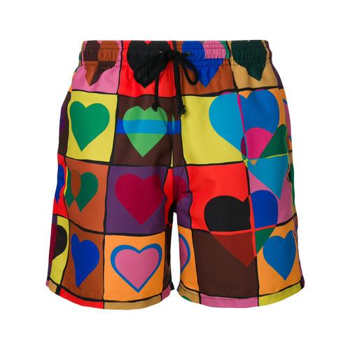 heart grid swim trunks