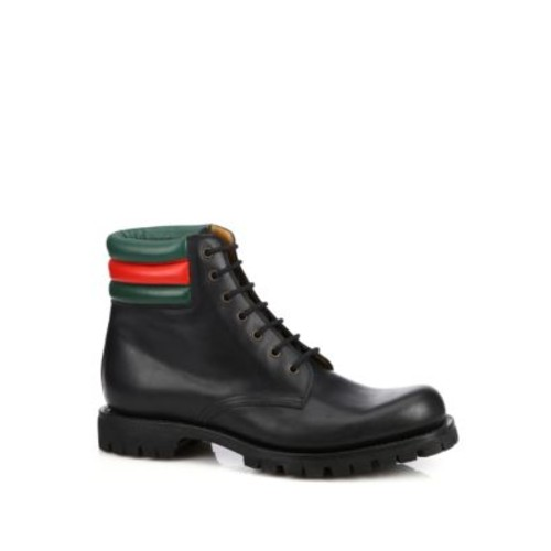 GUCCI Marland Leather Lace-Up Boots
