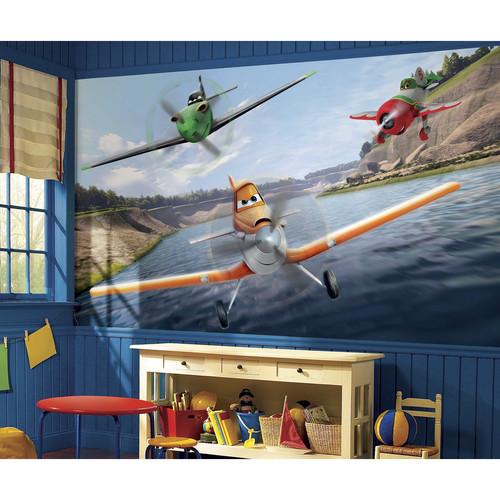 RoomMates Disney Planes XL Chair Rail Prepasted Mural 6' x 10.5' - Ultra-strippable