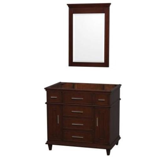 Wyndham Collection Berkeley 36 in. Vanity Cabinet with Mirror in Dark Chestnut