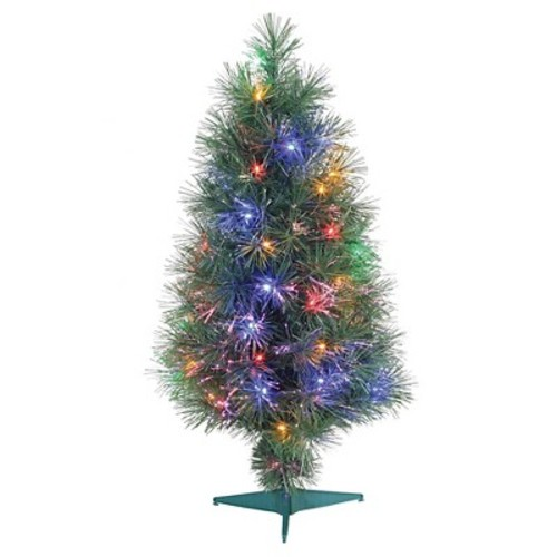 3ft Pre-Lit LED Artificial Christmas Tree Fiber Optic - Multicolored Lights