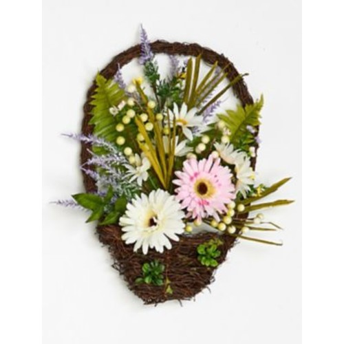 Worth Imports Hanging Chrysanthamum Mixed Floral Arrangements in Twig Basket