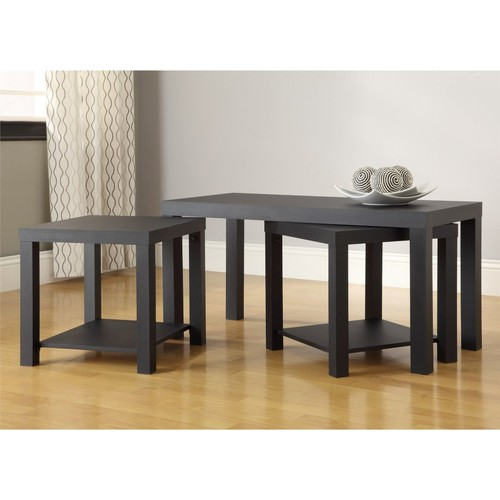 Altra Furniture Coffee Table and End Table 3-pc. Set, Black Finish, BLACK