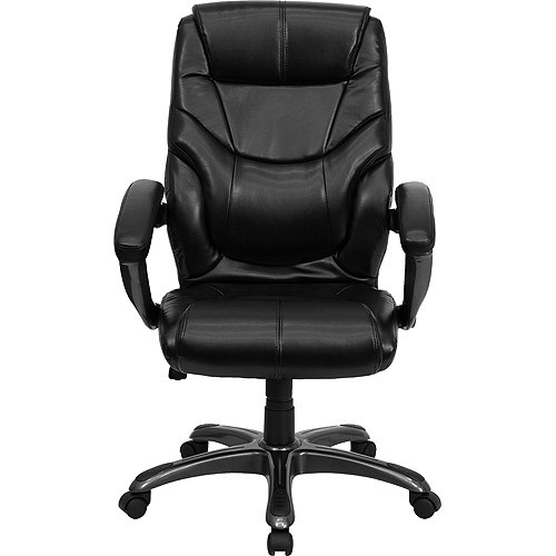 Flash Furniture High Back Black Leather Overstuffed Executive Swivel Chair with Arms [Black]